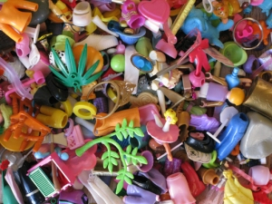 small plastic toys ready to be reused or recycled