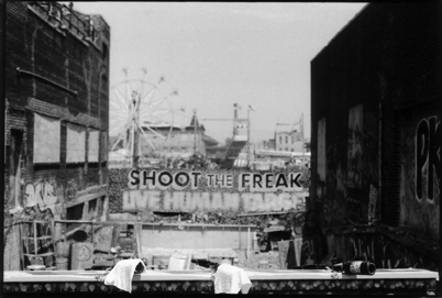black-and-white photograph of shoot the freak at coney island