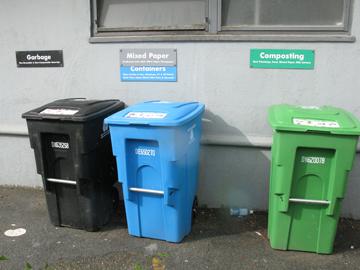 San Francisco's trash, recycling, and compost bins