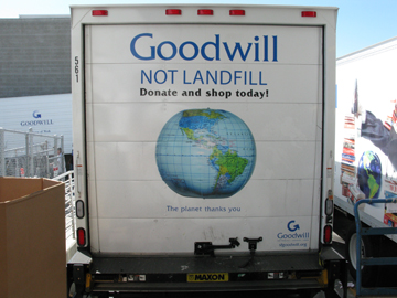 goodwill not landfill on Goodwill truck