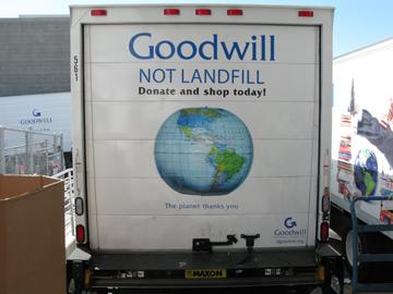 goodwill not landfill on Goodwill truck