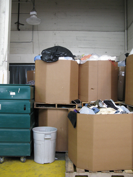 boxes of clothes for recycling
