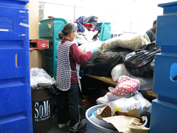 sorting clothing donations at Goodwill Industries in San Francisco
