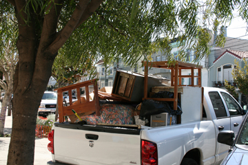 pickup truck loaded and ready for the dump