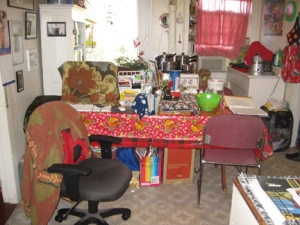 a cluttered kitchen table