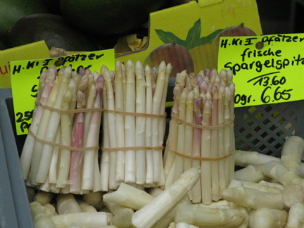 spargel, or white asparagus at a market in Germany