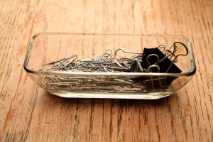reuse a butter dish to store paperclips