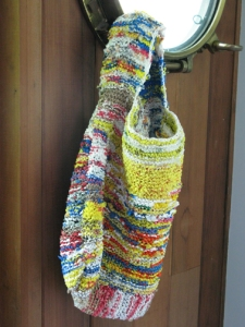 plastic bags knitted or crocheted into a reusable bag