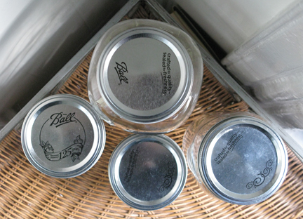 aerial view of jars with lids