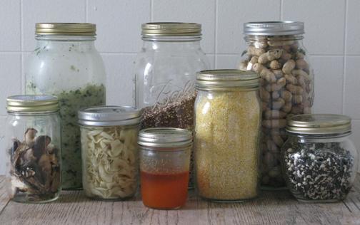 jars and jars of foodstuffs
