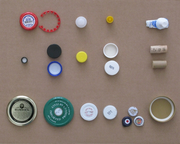 bottle tops and jar lids