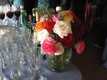 flowers arrangement with wine glasses