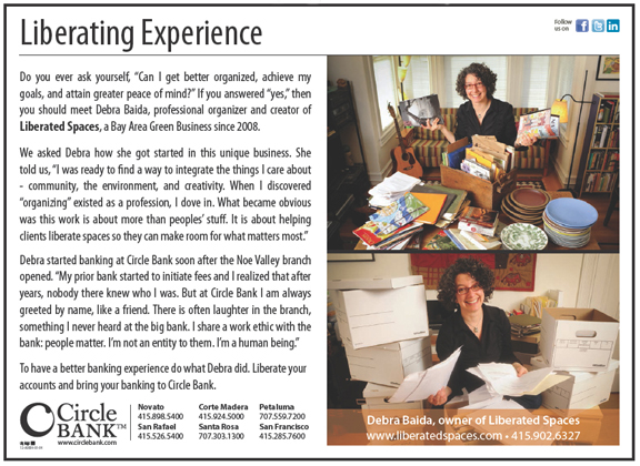 Circle Bank ad featuring Debra Baida, Liberated Spaces