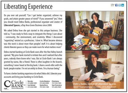 Circle Bank ad featuring Debra Baida, Liberated Spaces