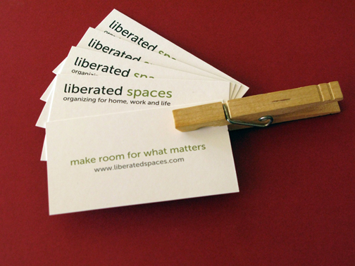 liberated spaces business cards with clothespin