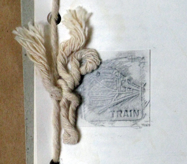 rubbing of train on journal cover