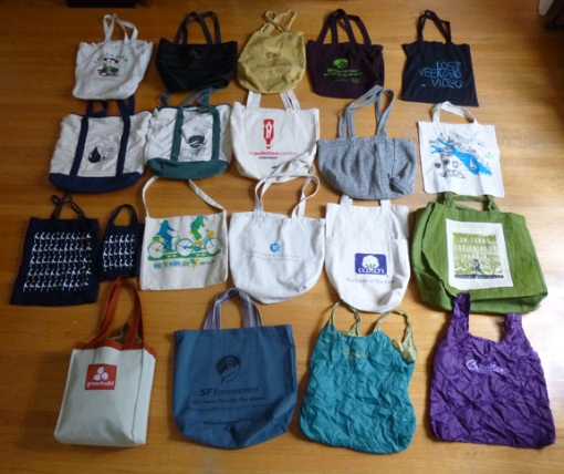 collection of reusable bags