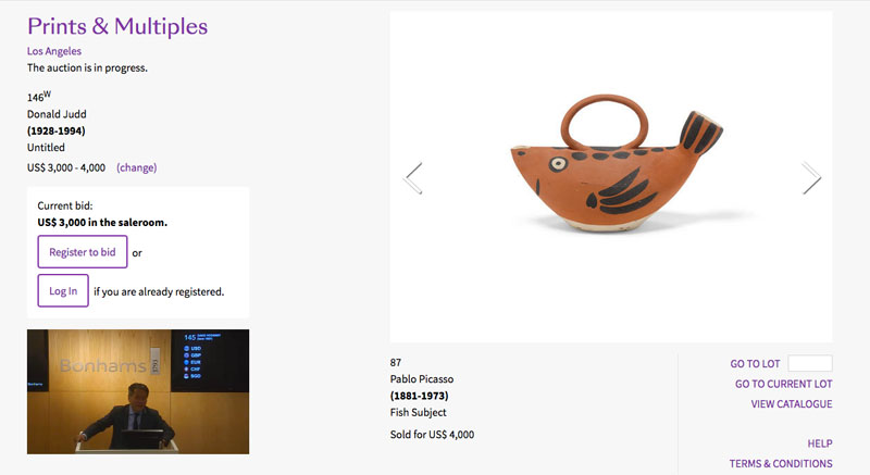 Screenshot of Bonham's auction in progress.